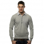 Peter Werth Y Neck Knit With Shirt Insert